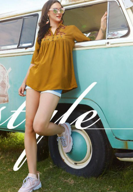 Mustard Color Western Style Rayon Top (She Top 522)