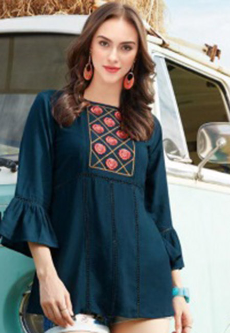 Turquoise Green Color Western Style Rayon Top (She Top 524)
