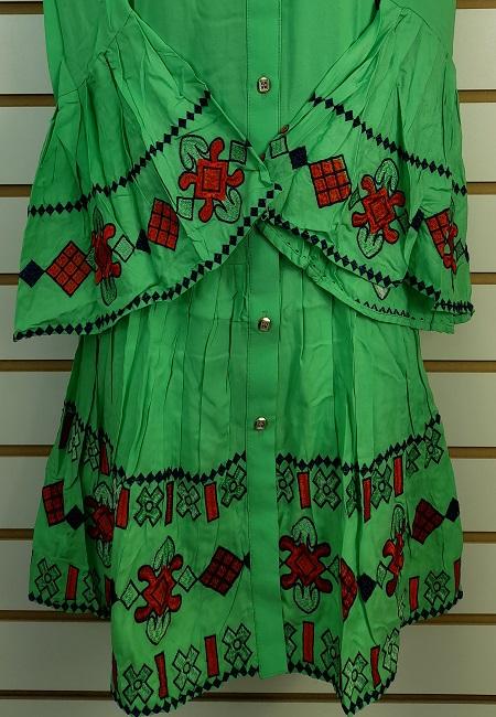 Parrot Green Color Linen Designer Women Top (She Top 501)
