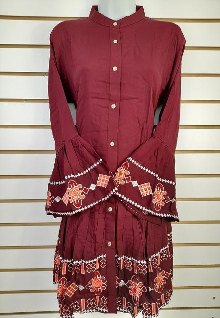 Maroon Color Linen Designer Women Top (She Top 502)