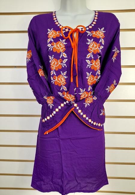 Purple Color Linen Designer Embroidery Women Top (She Top 505)