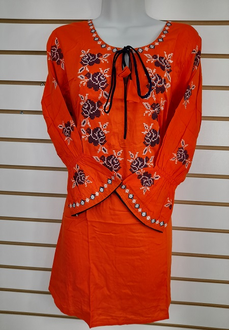 Orange Color Linen Designer Embroidery Women Top (She Top 506)