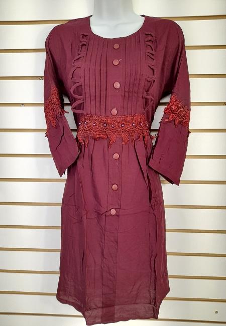 Deep Maroon Color Linen Designer Women Top (She Top 508)