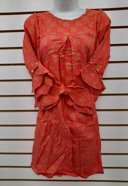 Deep Orange Color Western Style Designer Top  (She Top 512)