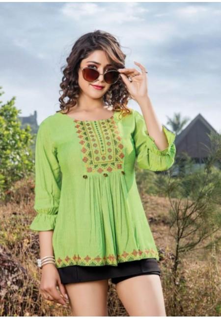 Olive Green Color Short Designer Cotton Top (She Top 516)