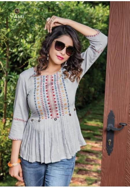 Light Grey Color Short Designer Cotton Top (She Top 517)