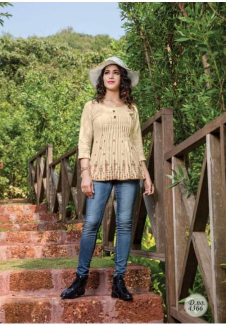 Beige Color Short Designer Cotton Top (She Top 519)