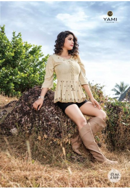 Beige Color Short Designer Cotton Top (She Top 520)